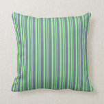 [ Thumbnail: Green and Slate Gray Colored Stripes Pattern Throw Pillow ]