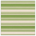 [ Thumbnail: Green and Tan Colored Lined/Striped Pattern Fabric ]