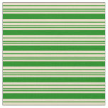 [ Thumbnail: Green and Tan Colored Striped Pattern Fabric ]