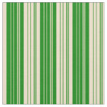[ Thumbnail: Green and Tan Lines Pattern Fabric ]