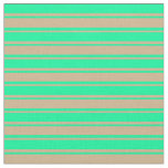 [ Thumbnail: Green and Tan Lines/Stripes Pattern Fabric ]