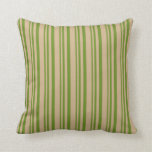 [ Thumbnail: Green and Tan Lines/Stripes Pattern Throw Pillow ]