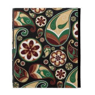 Green and Tan Paisley iPad Folio Cases