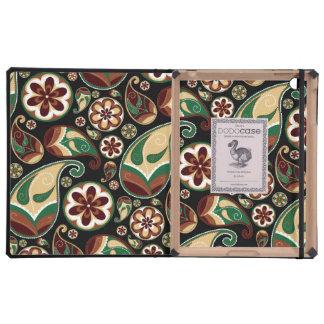 Green and Tan Paisley iPad Folio Case
