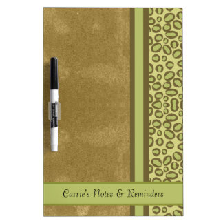 Green and Tan Spotted Jungle Print Dry Erase Board