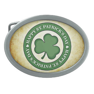 Green and Tan St. Patrick's Day Belt Buckle