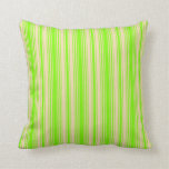 [ Thumbnail: Green and Tan Stripes/Lines Pattern Throw Pillow ]