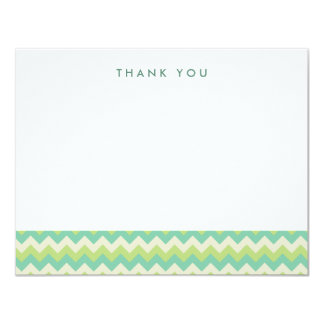"Green and Teal Chevron Thank You Note Cards 4.25"" X 5.5"" Invitation Card"