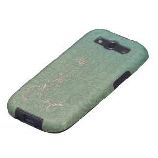 Green and Teal Damask Pattern Golden Embellishment Samsung Galaxy SIII Case