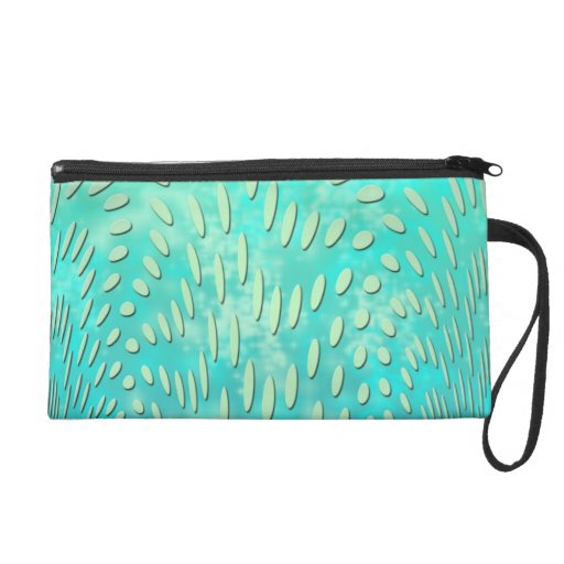 Green and Teal Digital Abstract Art Wristlet Clutch