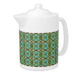 Green and Teal Pattern Teapot