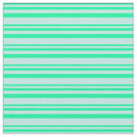 [ Thumbnail: Green and Turquoise Colored Lined/Striped Pattern Fabric ]