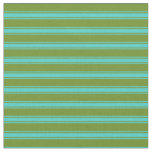 [ Thumbnail: Green and Turquoise Colored Lines/Stripes Pattern Fabric ]