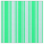 [ Thumbnail: Green and Turquoise Colored Pattern of Stripes Fabric ]