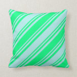 [ Thumbnail: Green and Turquoise Colored Pattern of Stripes Throw Pillow ]