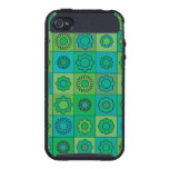 Green and Turquoise Hippie Flower Pattern Cover For iPhone 4