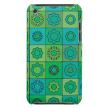 Green and Turquoise Hippie Flower Pattern Barely There iPod Covers