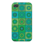 Green and Turquoise Hippie Flower Pattern iPhone 4 Cases