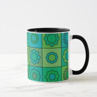 Green and Turquoise Hippie Flower Pattern Mug
