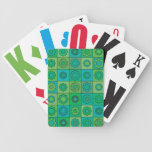 Green and Turquoise Hippie Flower Pattern Bicycle Card Decks