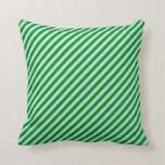 [ Thumbnail: Green and Turquoise Striped/Lined Pattern Pillow ]