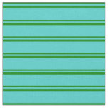 [ Thumbnail: Green and Turquoise Striped Pattern Fabric ]