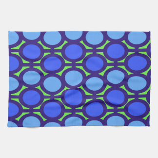 Green and Two Shades of Blue Eyelets Towel