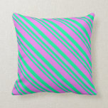 [ Thumbnail: Green and Violet Colored Lines Pattern Pillow ]