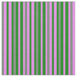 [ Thumbnail: Green and Violet Colored Stripes Fabric ]