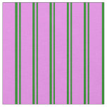[ Thumbnail: Green and Violet Colored Stripes Pattern Fabric ]