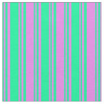 [ Thumbnail: Green and Violet Lined/Striped Pattern Fabric ]