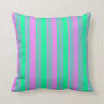 [ Thumbnail: Green and Violet Lined/Striped Pattern Pillow ]