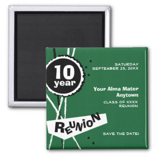 Green and White 10 Year Class Reunion Magnet