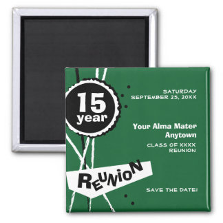 Green and White 15 Year Class Reunion Magnet