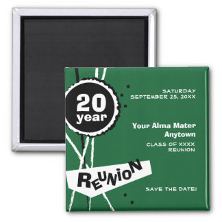 Green and White 20 Year Class Reunion Magnet