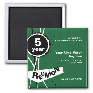 Green and White 5 Year Class Reunion Magnet