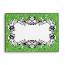 Green and White A6 Gothic Baroque Envelopes