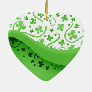 Green And White Abstract Butterflies Ceramic Ornament