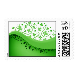 Green And White Abstract Butterflies Postage