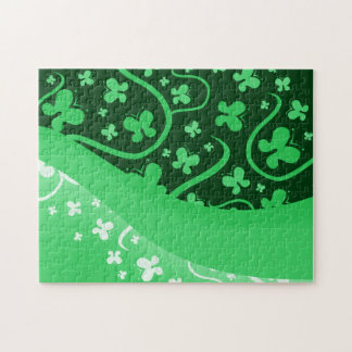 Green And White Abstract Butterflies Puzzle