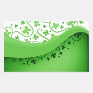 Green And White Abstract Butterflies Rectangular Sticker