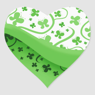 Green And White Abstract Butterflies Heart Sticker