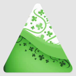 Green And White Abstract Butterflies Triangle Sticker