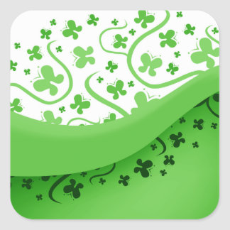 Green And White Abstract Butterflies Square Sticker