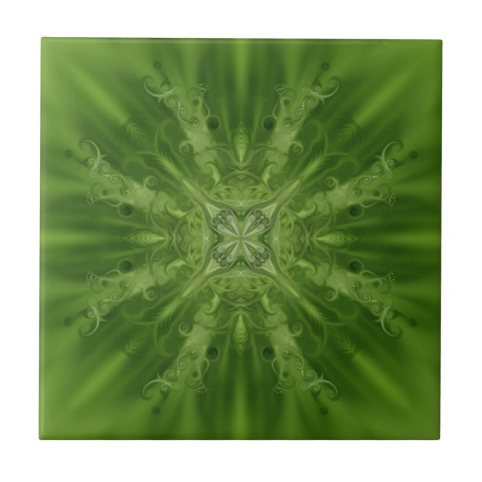 Green and white abstract flower ceramic tile