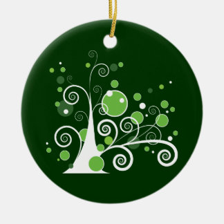Green and White Abstract Tree Ceramic Ornament