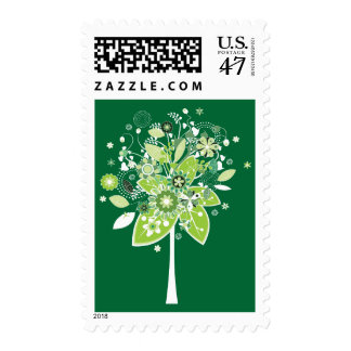 Green and White Abstract Tree Postage