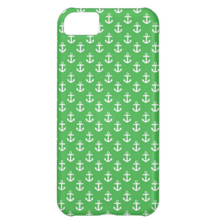 Green and White Anchors Pattern iPhone 5C Cases