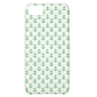 Green and White Anchors Pattern iPhone 5C Covers
