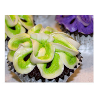 Green and White and Purple Frosted Cupcakes Postcard